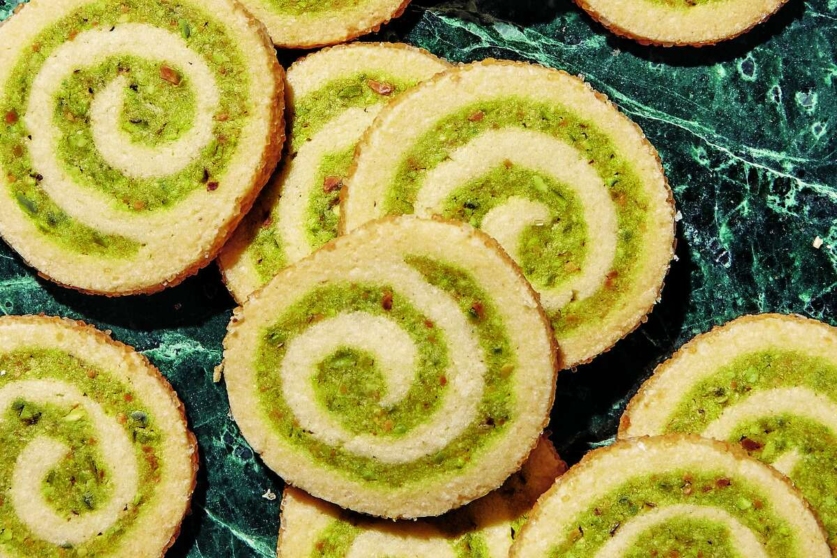 "Pistachio pinwheels by Claire Saffitz from her cookbook, ""Dessert Person"" (Clarkson Potter)."