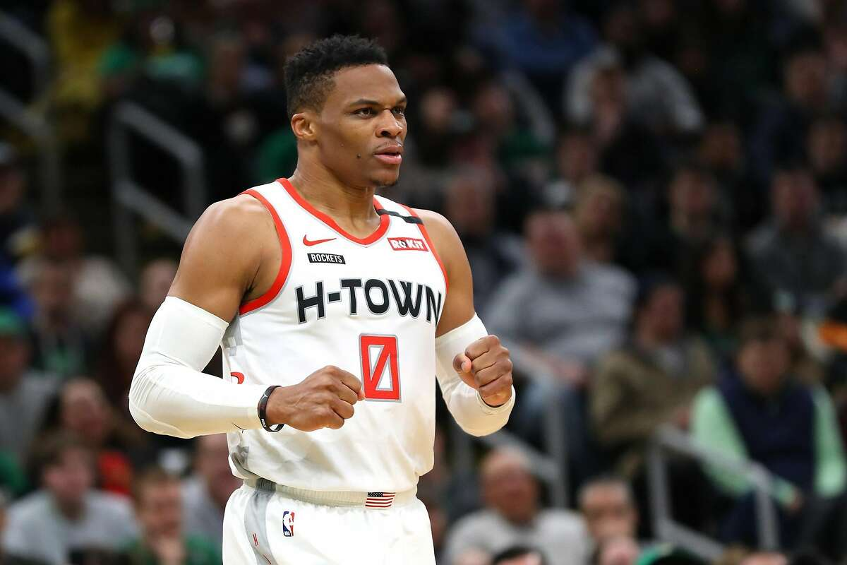 Russell Westbrook of the Houston Rockets reacts during a game against the Boston Celtics at TD Garden in Boston on February 29, 2020. (Maddie Meyer/Getty Images/TNS)