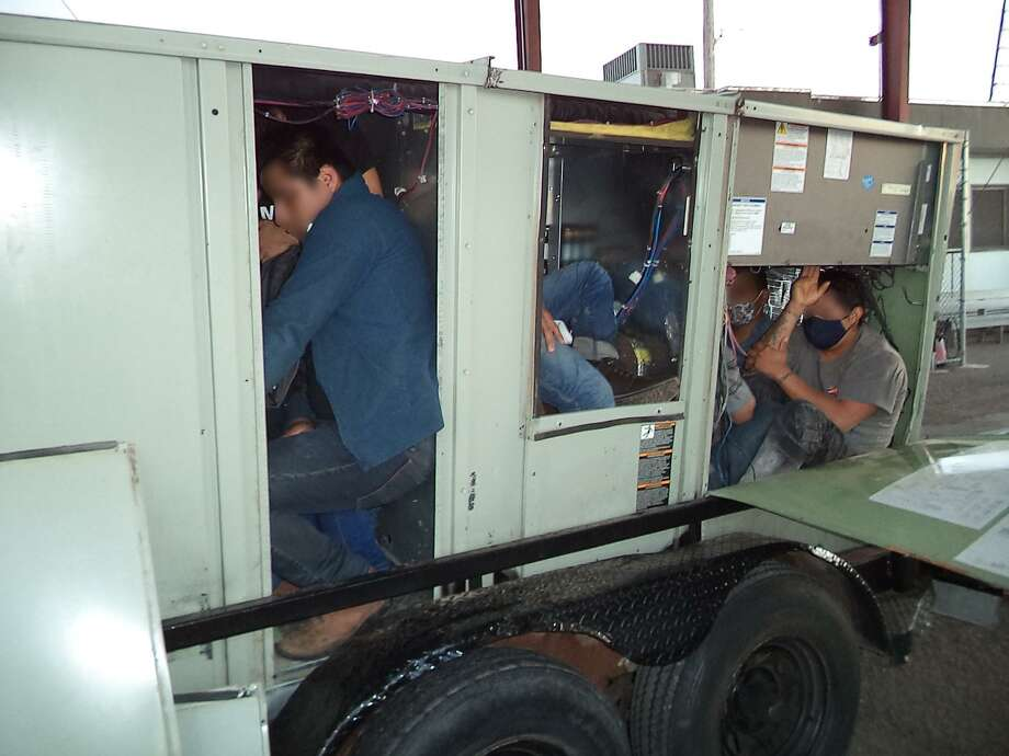 U.S. Border Patrol agents said they discovered 13 immigrants inside this commercial air conditioning unit. Photo: Courtesy Photo /U.S. Border Patrol