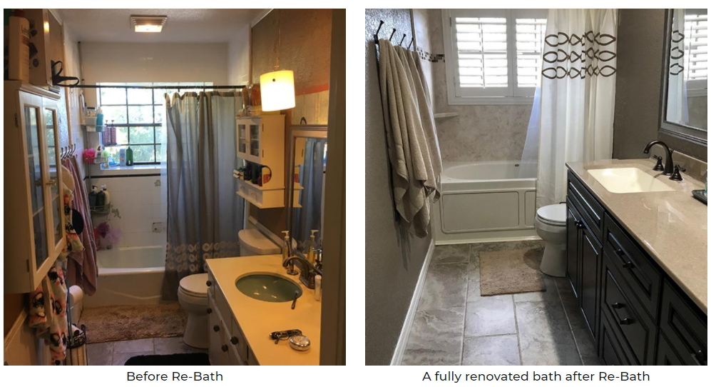 A fully renovated bath by Re-Bath.