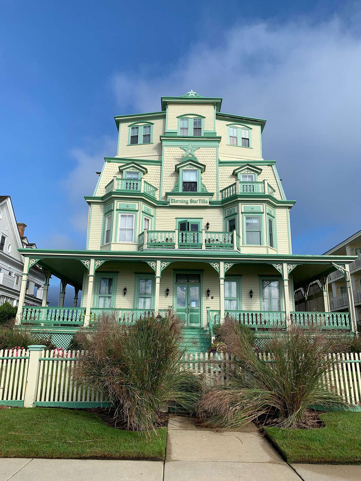 Several streets in Cape May boast colorful Victorian homes.