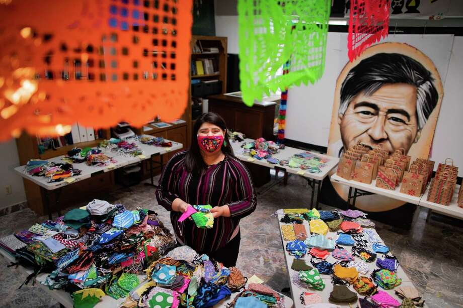 Cinthia Cantú, 22, and T.E.J.A.S., the organization on which Cantú works as a community organizer will be donating protective masks created by the Auntie Sewing Squad, Friday, Nov. 20, 2020, in Houston. Photo: Marie D. De Jesús, Staff Photographer / © 2020 Houston Chronicle