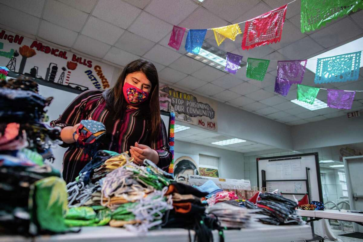 Cinthia Cantú, 22, and T.E.J.A.S., the organization on which Cantú works as a community organizer will be donating protective masks created by the Auntie Sewing Squad, Friday, Nov. 20, 2020, in Houston.
