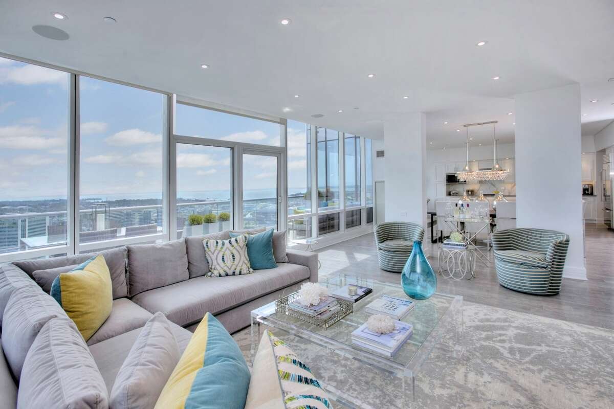 Penthouse D4 at 1 Broad St. in Stamford is on the market for $2,195,000. Zampa is currently showing a 3,264-square-foot duplex penthouse condo in the Trump Parc Stamford building at 1 Broad Street that features sweeping views of the city, two outdoor spaces and