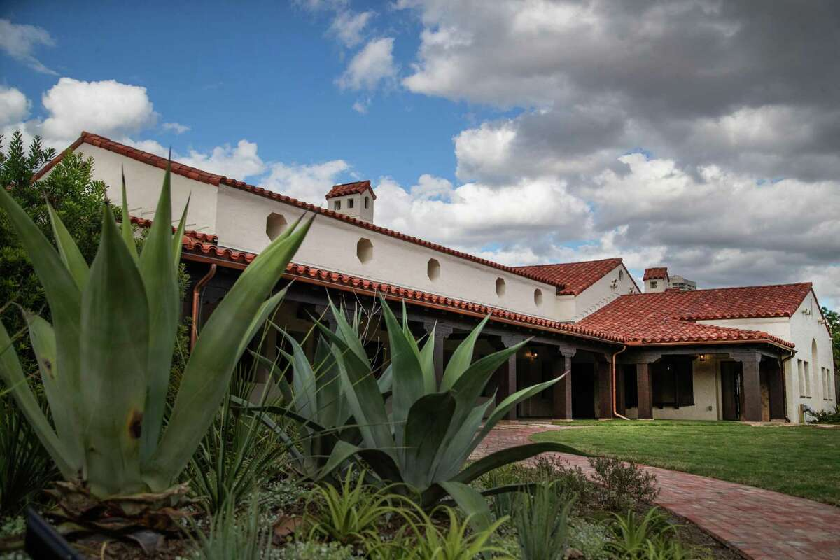 Large mezcal agaves provide structure in Michael Van Valkenburgh Associates' new landscape for Lott Hall, the 1933 Spanish-style building that was built as a clubhouse for Hermann Park's golf course.