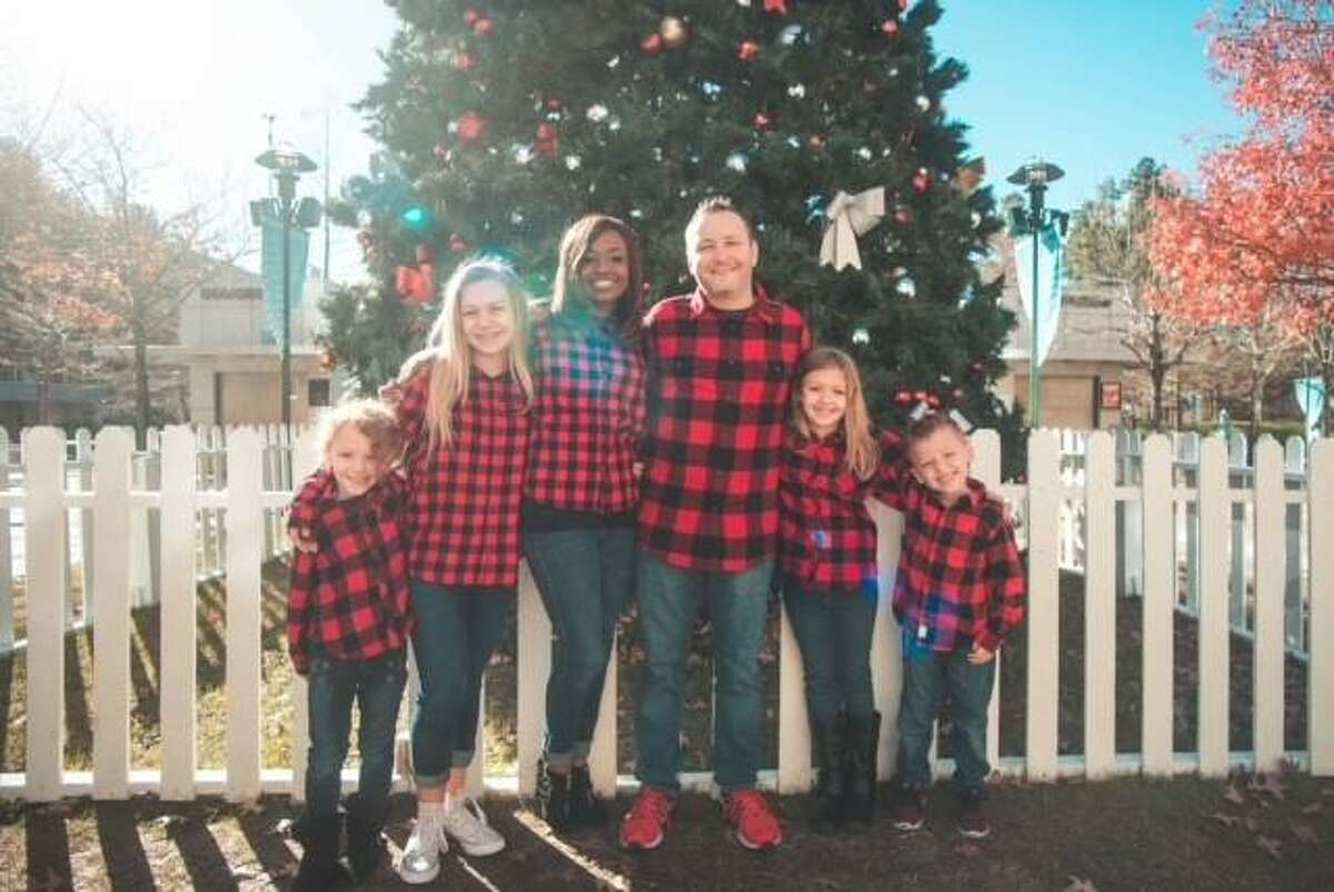 Stephanie Suchon, a Christian counselor in Tomball, with her family during the 2019 holiday season.
