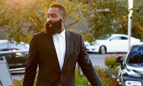 """HOUSTON, TX - OCTOBER 28: James Harden arrives at the Chris Paul Family Foundation's """"Celebrity Server"""" Fundraiser at Mastro's Steakhouse on October 28, 2018 in Houston, Texas. (Photo by Bob Levey/Getty Images)"""