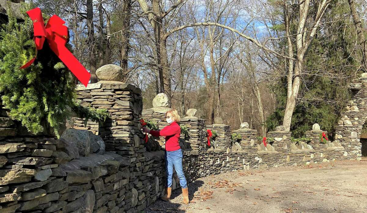 Members of the Friends of Gillette Castle State Park spent a recent weekend decorating the grounds and exterior of the late William Gillette's mansion at 67 River Road