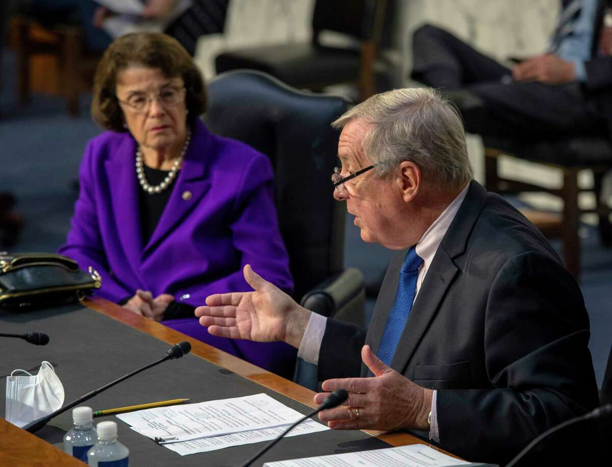Sen. Dianne Feinstein, D-Calif., listens to Sen. Richard Durbin, D-Ill., at a Senate Judiciary committee hearing on Oct. 15, 2020, in Washington, D.C.
