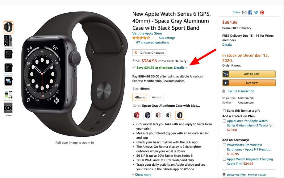 Amazon is taking an additional $34.99 off the price of the Apple Watch Series 6 at checkout right now. Photo: Amazon/Hearst Newspapers