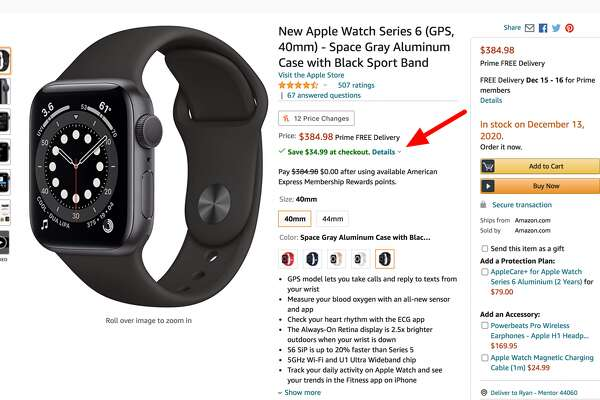 Amazon is taking an additional $34.99 off the price of the Apple Watch Series 6 at checkout right now.