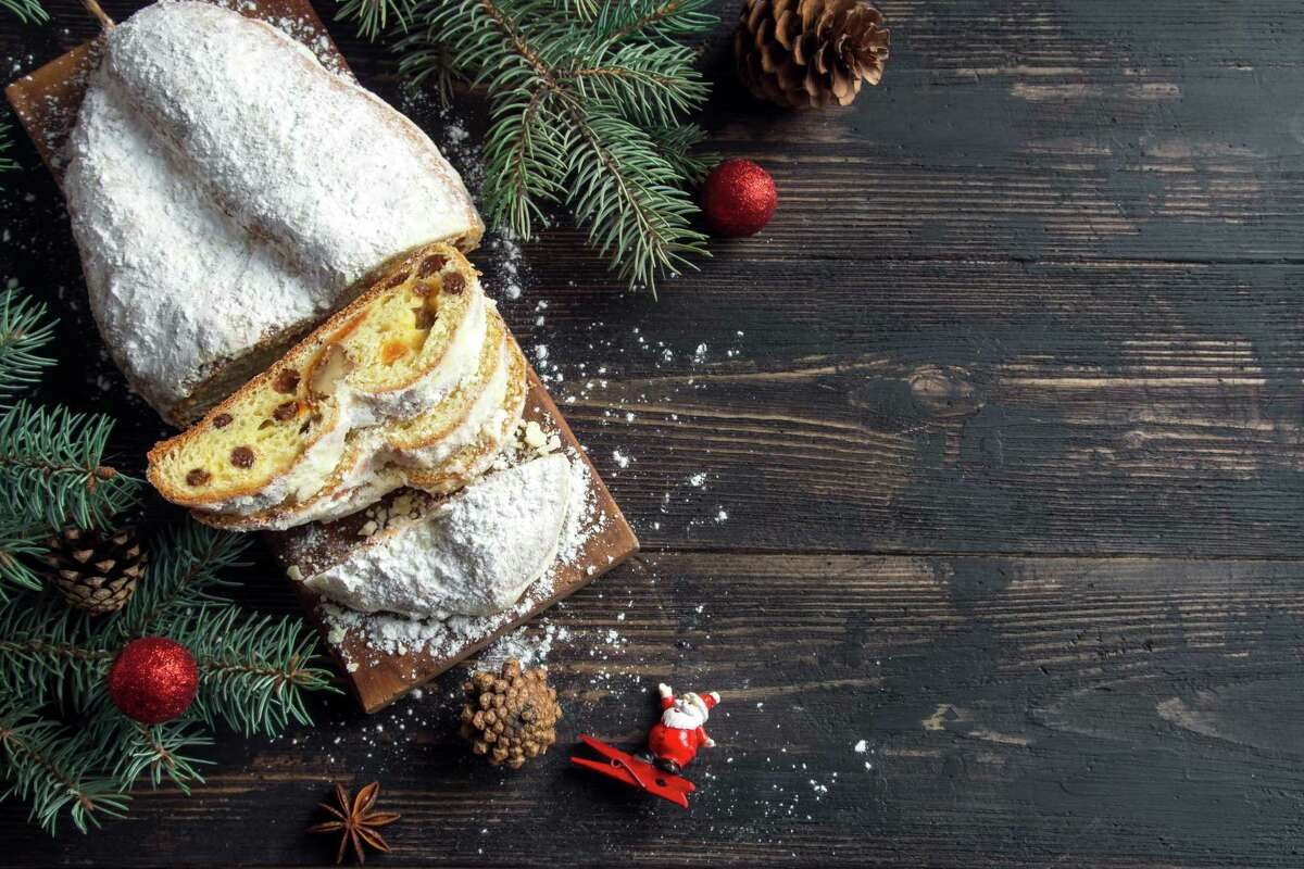 Stollen is a German fruit bread baked with raisins and cranberries.