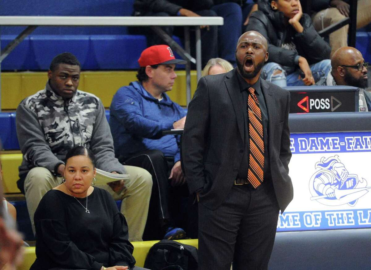 Capital Prep Head Coach: Levy Gillespie during basketball tournament action against Harding at Notre Dame of Fairfield in Fairfield, Conn., on Friday Dec. 14, 2018.