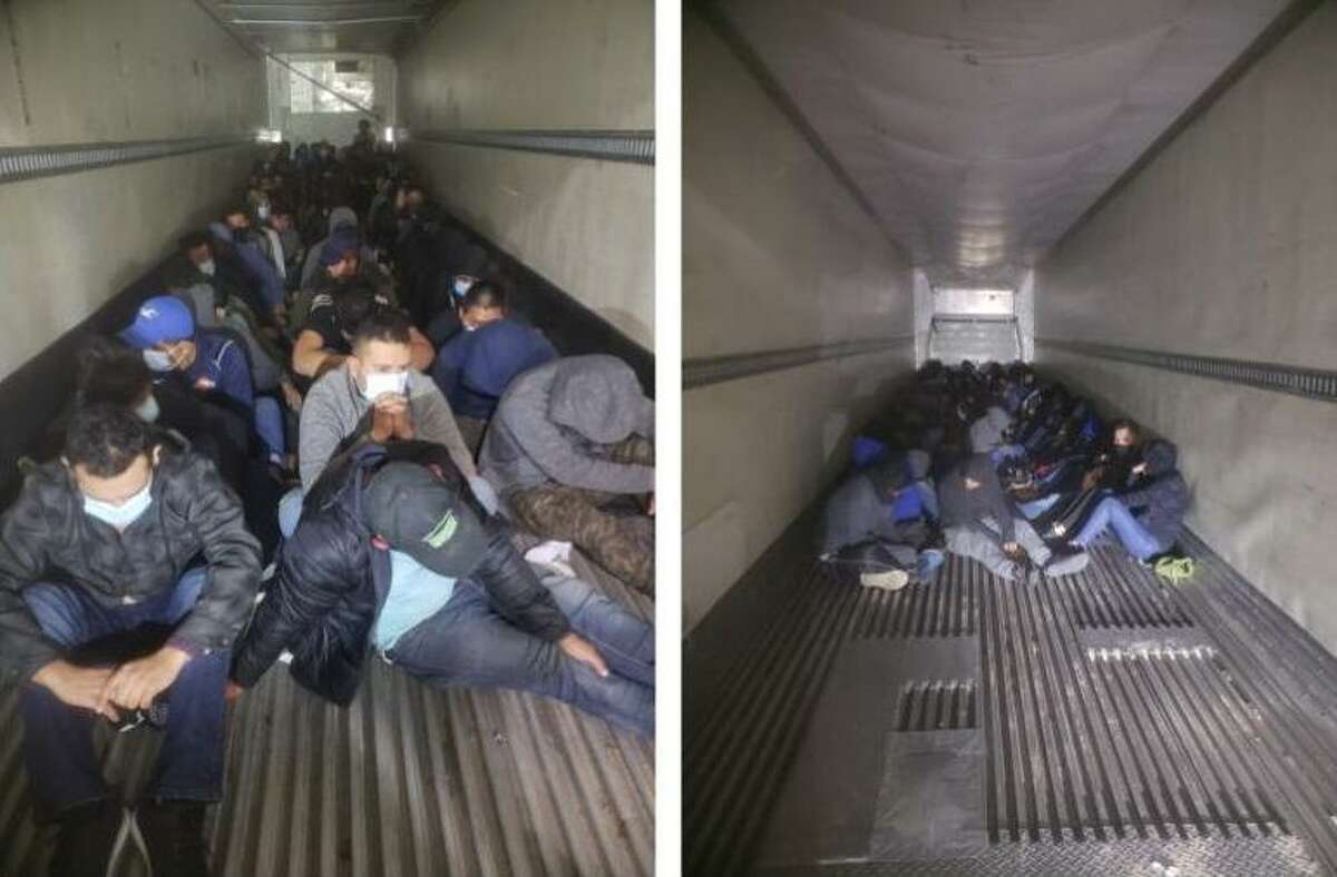 Shown are groups of 116 and 85 immigrants in the back of refrigerated trailers. U.S. Border Patrol agents discovered the large groups at the U.S. 83 checkpoint.
