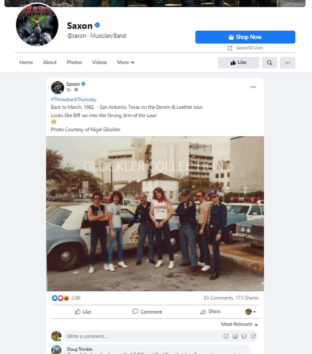 """Rock band Saxon posted a vintage photo taken in town when San Antonio relished in being the """"Heavy Metal Capital of the World."""""""