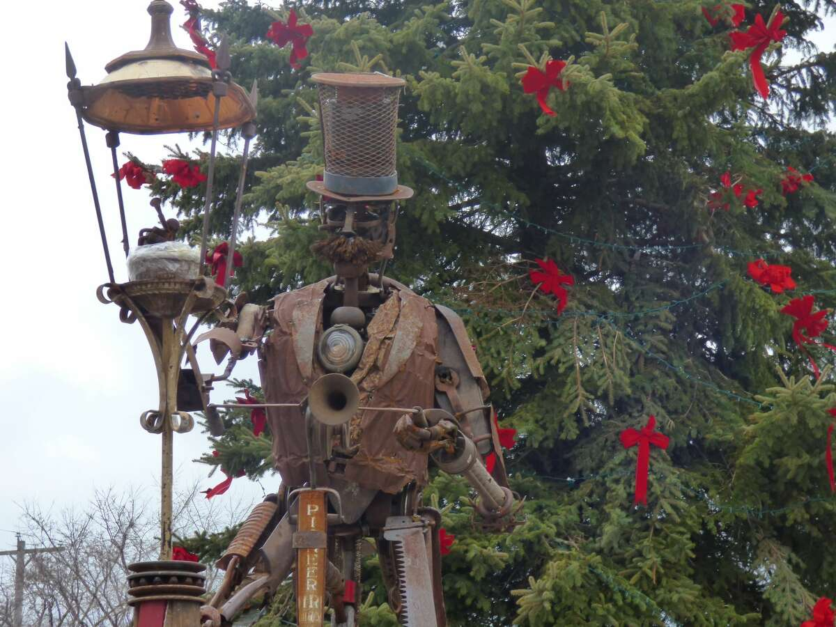 The Lamplighter is an interactive sculpture by artists Tyler and Ashley Voorhees that will be on display in downtown Manistee on River Street.