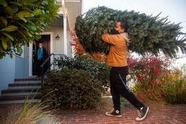 Matt Bush, an East Oakland local, unloads his christmas tree from his car with teh help of his wife, Lisa Gano, on December 3, 2020 in Oakland California.