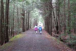 Dede Terns-Thorpe, right, walks the Tannersville bike path with her granddaughter. (Herb Terns / Times Union)