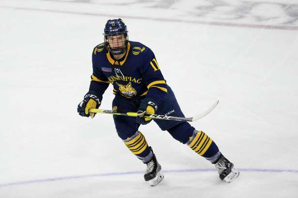 Quinnipiac forward Wyatt Bongiovanni and the Bobcats have been practicing in pods to limit the spread of COVID-19.