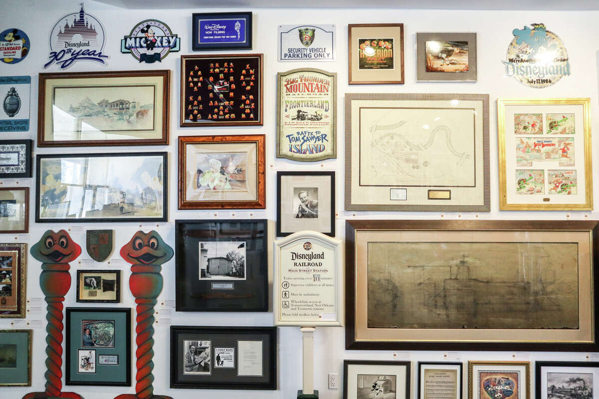 A Main Street sign from the Disneyland Railroad and other auction items at the Van Eaton Gallery in Sherman Oaks, Calif.