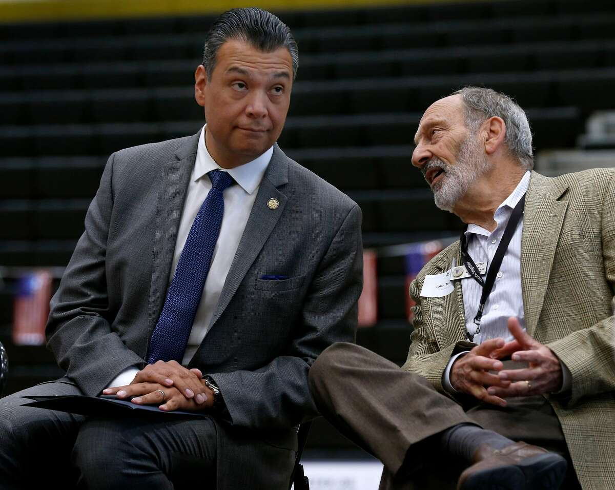 California Secretary of State Alex Padilla chats on stage with Napa County Registrar of Voters John Tuteur at a voter registration rally for students at American Canyon High School in American Canyon, Calif. on Thursday, April 26, 2018.