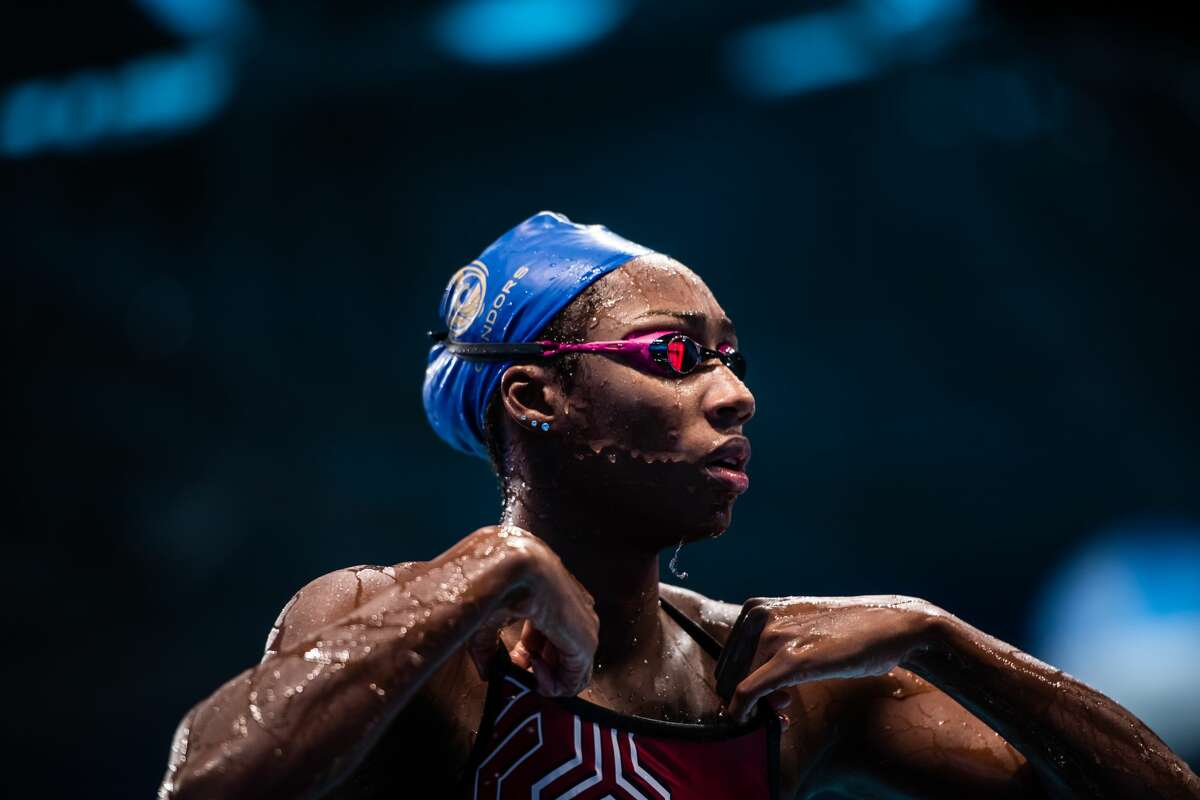 Midland High grad Natalie Hinds competes for the Cali Condors during an International Swimming League event in Budapest, Hungary. Photo by Mike Lewis.