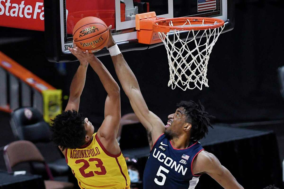 UConn's Isaiah Whaley currently leads the Big Easts in blocked shots and offensive rebounds per game. (AP Photo/Jessica Hill)