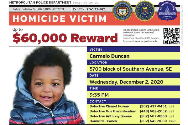 Reward poster for information on the shooting death Wednesday of 1-year-old Carmelo Duncan in Washington, D.C.