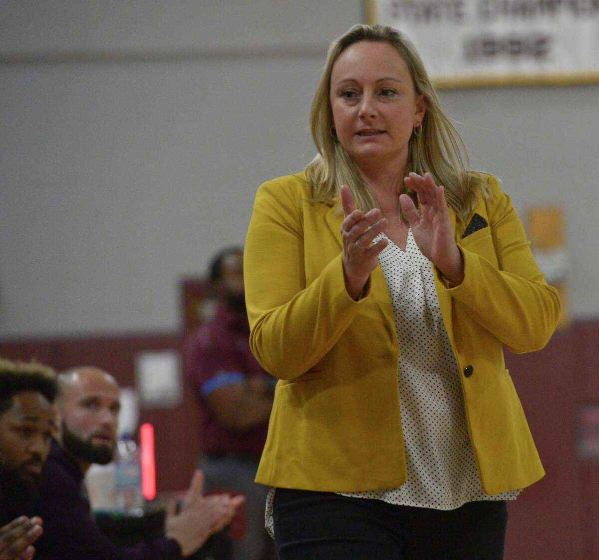 Notre Dame-Fairfield head coach Maria Conlon during a girls basketball game between Notre Dame-Fairfield and Bethel high schools, Thursday night, January 9, 2020, at Bethel High School, Bethel, Conn.