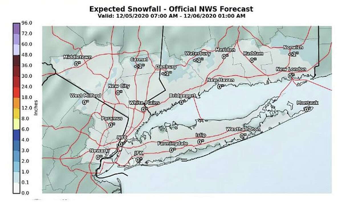 The current forecast for snow on Saturday, Dec. 5, 2020.