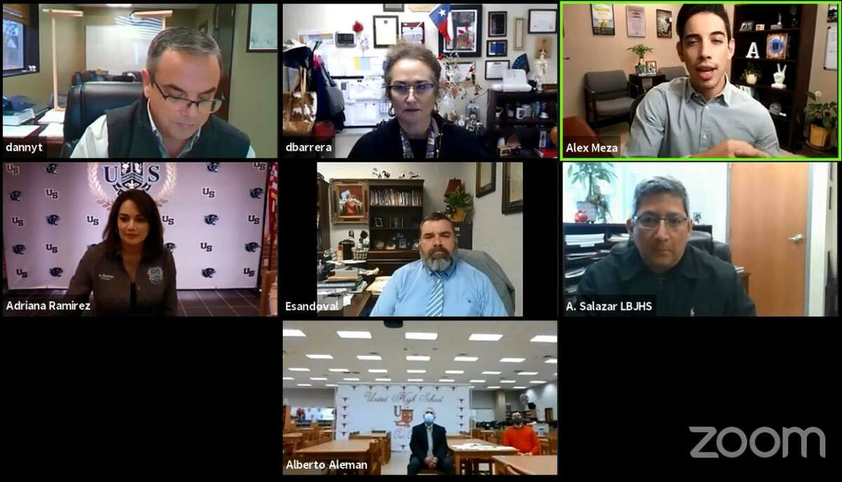 UISD principals and officials participate in a Zoom discussion on Thursday about on-site STAAR testing.