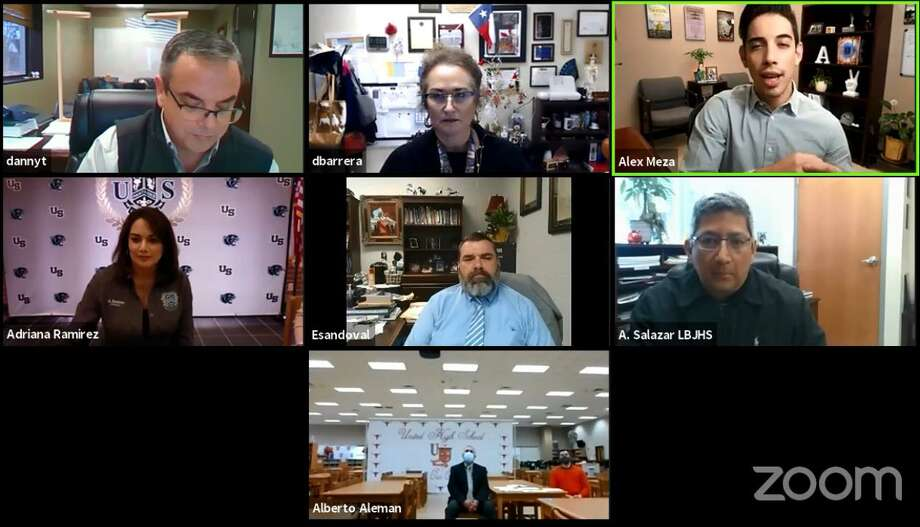 UISD principals and officials participate in a Zoom discussion on Thursday about on-site STAAR testing. Photo: Screenshot /UISD Facebook