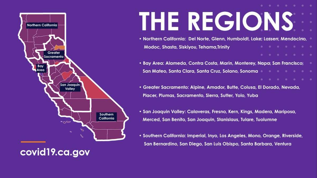 The state of California's new region stay-at-home order goes into effect when regions have less than 15% intensive care unit capacity. This map shows the five regions.