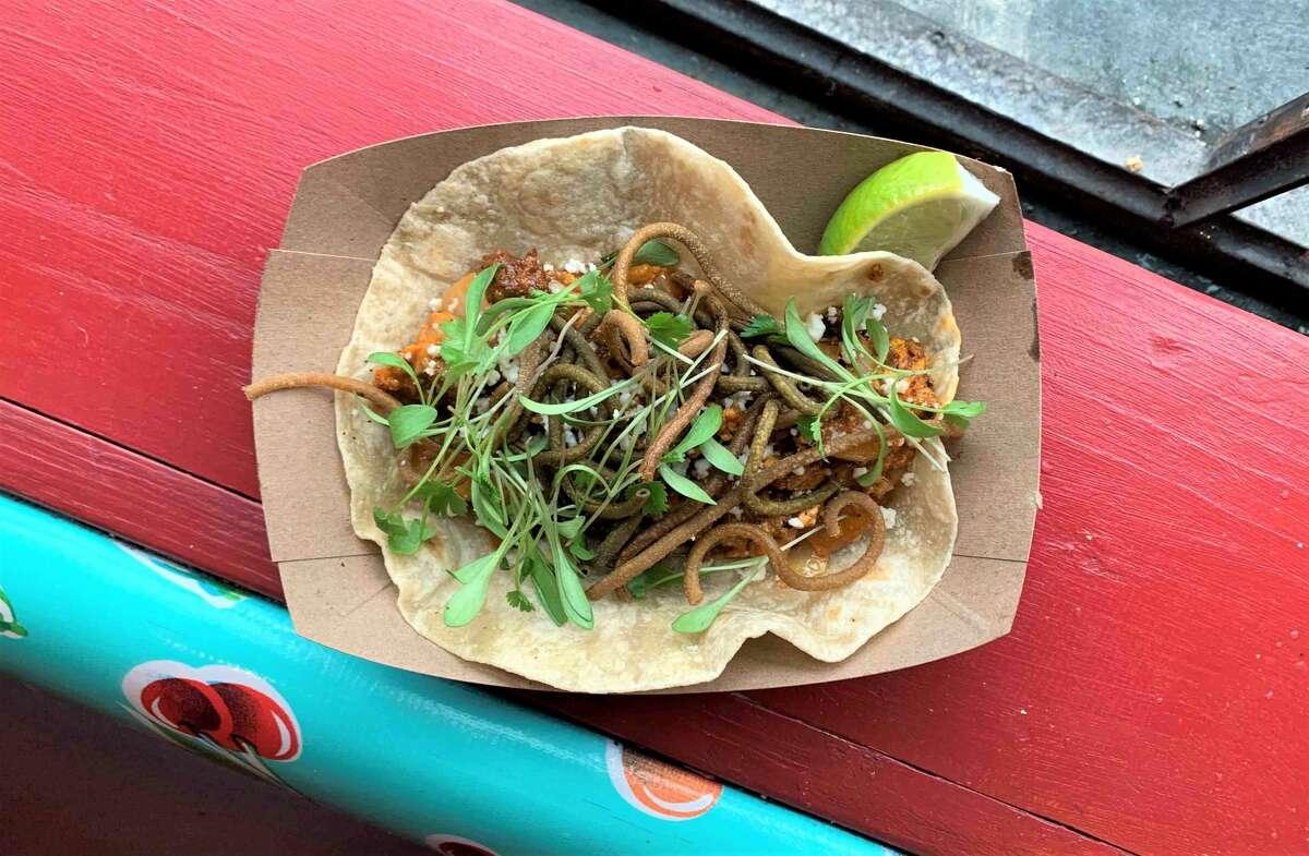 Chorizo Carbonara taco at Tacos A Go Go.