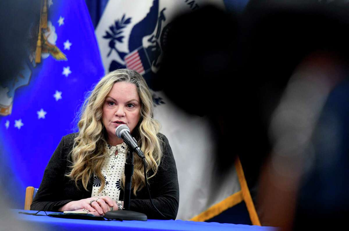 Albany County Department of Health Commissioner Dr. Elizabeth Whalen addresses her concerns over the latest county coronavirus figures during a briefing on Friday morning, Dec. 4, 2020, at the county offices in Albany, N.Y. (Will Waldron/Times Union)