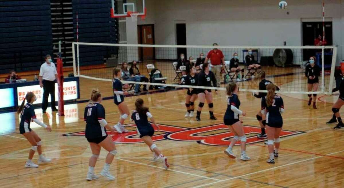 Big Rapids and Reed City square off on the volleyball court on Sept. 29 at Big Rapids High School. (Pioneer file photo)