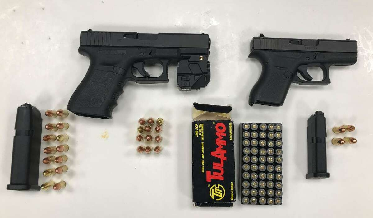 Guns seized during a targeted operation in Hartford, Conn., on Thursday, Dec. 3, 2020.