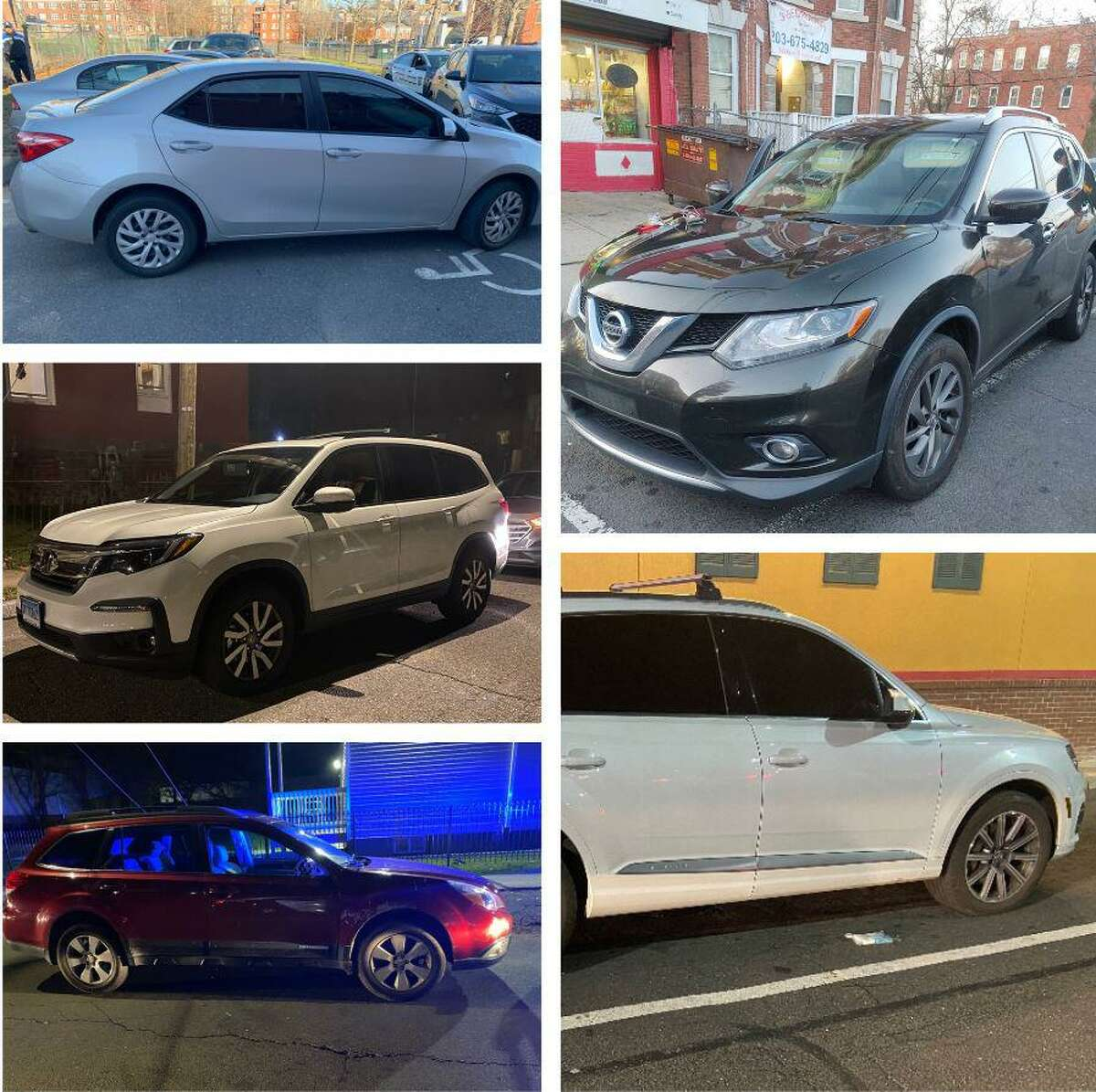 Cars seized during a targeted operation in Hartford, Conn., on Thursday, Dec. 3, 2020.