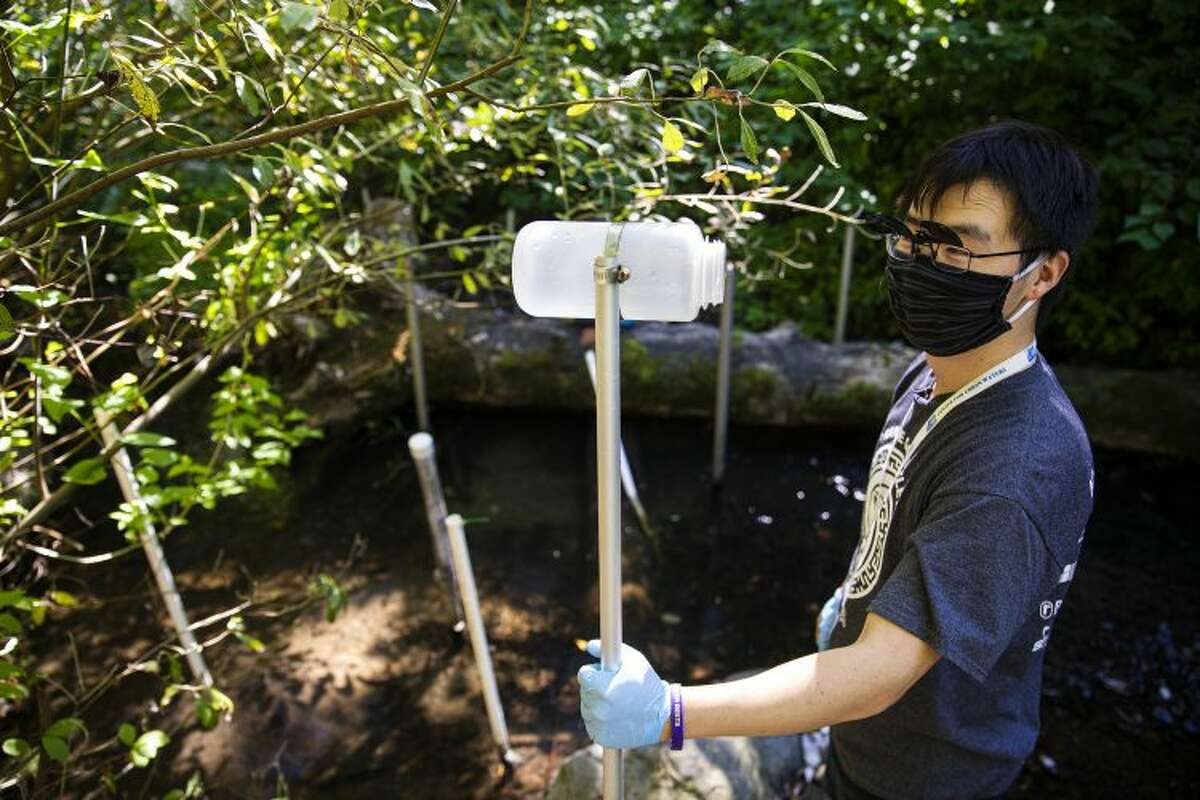 Zhenyu Tian is holding a sampling pole, which is used to collect creek water for future tests.