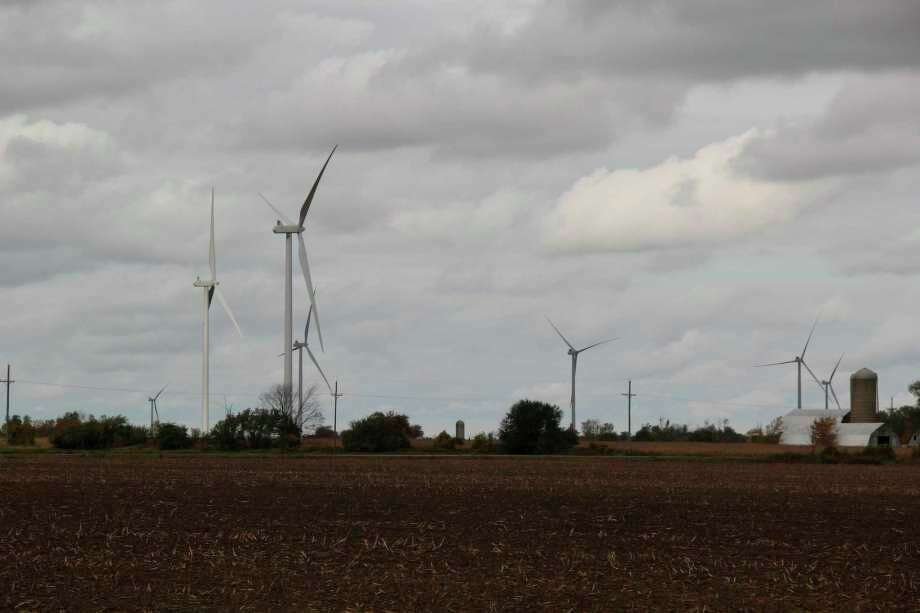 Some wind turbines that are part of Deerfield Wind Farm in Huron Township. (Tribune File Photo)