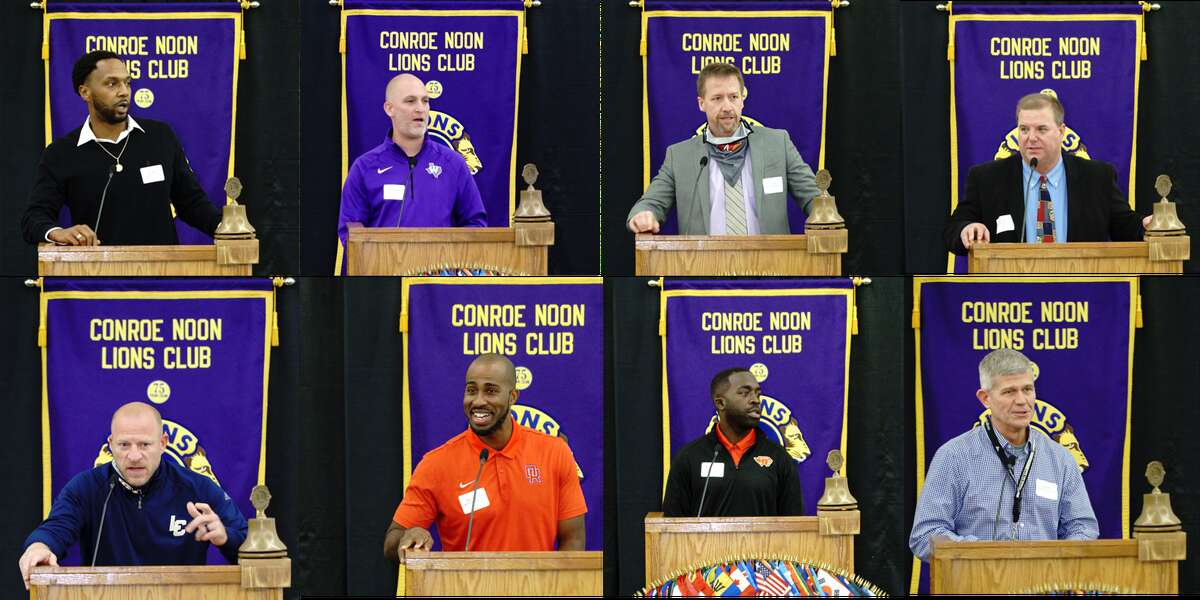 Conroe Noon Lions Club hosted it's annual Roundball Roundup this week, hearing from the high school basketball coaches around the area. Pictured: Top (l-r) Daryl Mason - Conroe, Michael Strom - Willis, Dale Reed - the Woodlands, Mike Day - Grand Oaks, Bottom (l-r) Shannon Spence - Lake Creek, Marlin Cloudy - Oak Ridge, Randy Appiah - Caney Creek, Clifton McNeely - College Park.