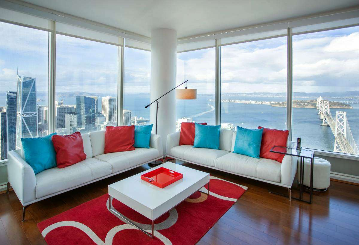 The 1,563-square-foot two-bedroom, two-bathroom apartment has amazing panoramic northeast corner views from every room.