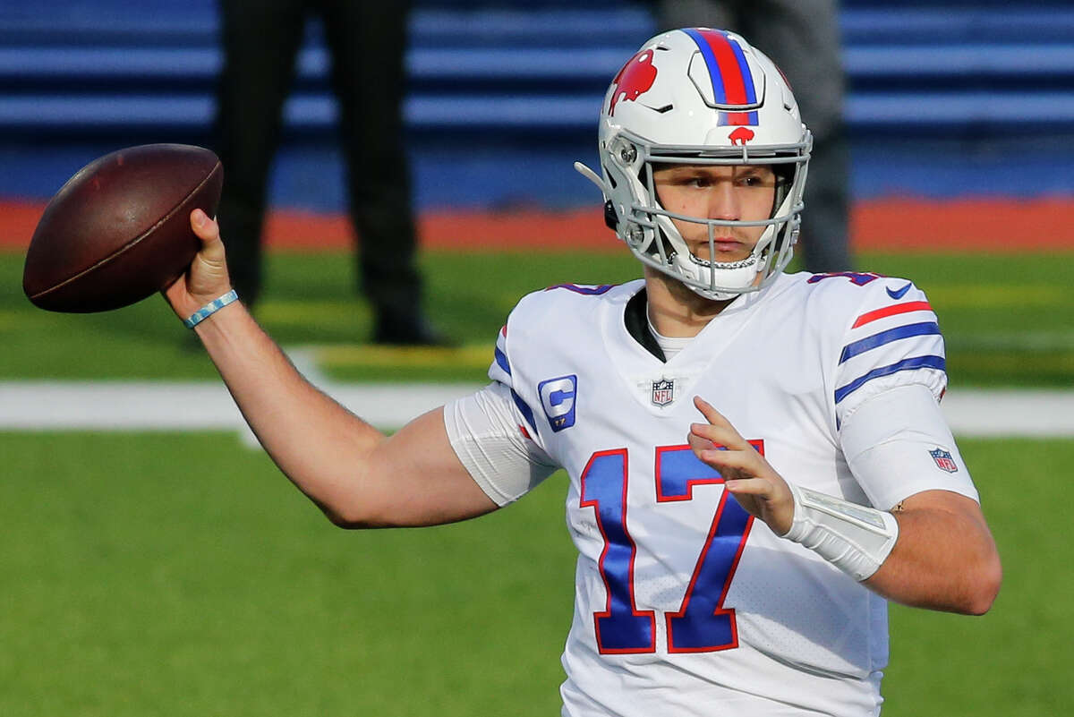 Buffalo Bills quarterback Josh Allen passes during the first half of an NFL football game against the Los Angeles Chargers, Sunday, Nov. 29, 2020, in Orchard Park, N.Y.