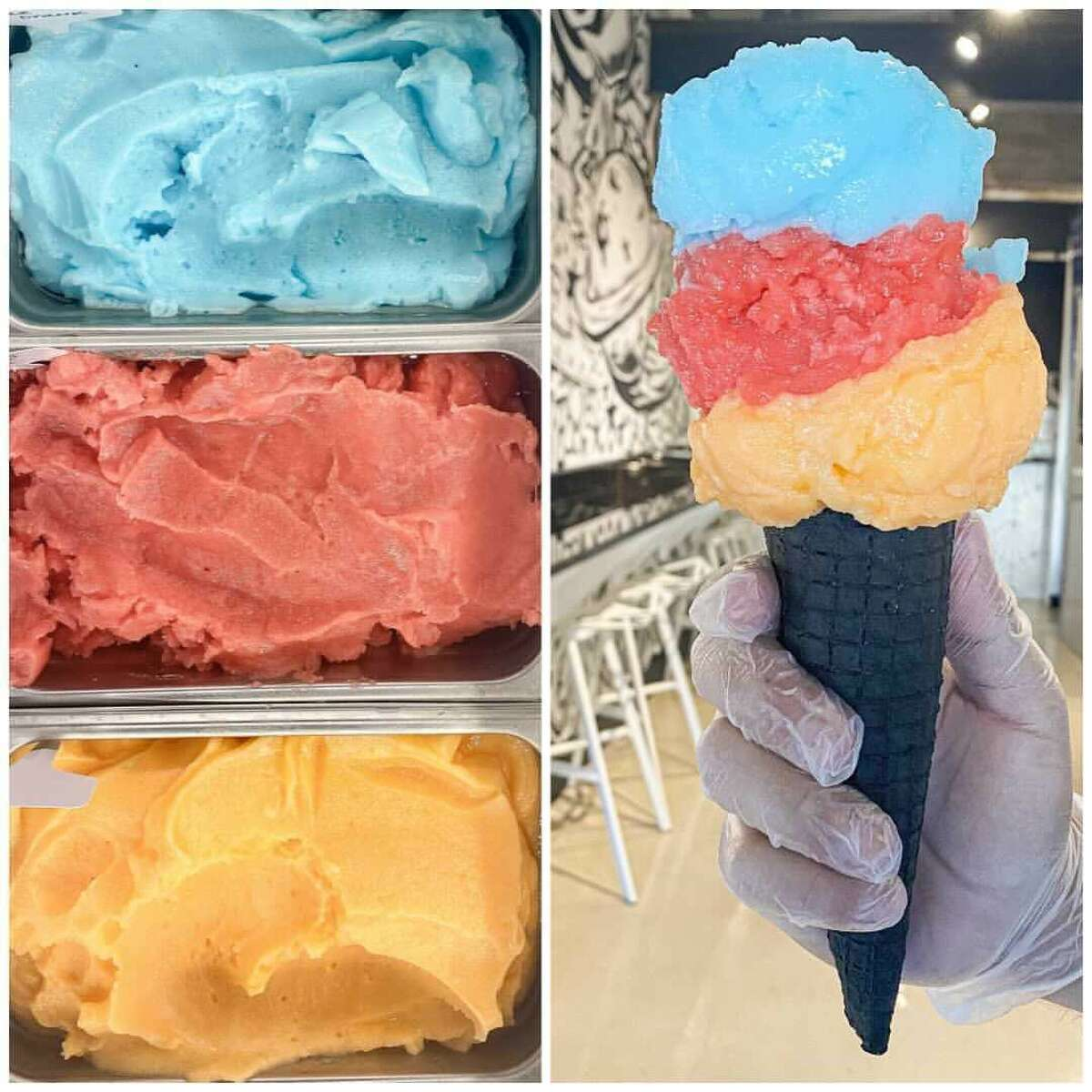The Broadway ice cream shop unveiled a triple-scoop ice cream cone - with muted blue, red and yellow colors - topped into a black cone on Thursday. Black + White says the blue scoop is