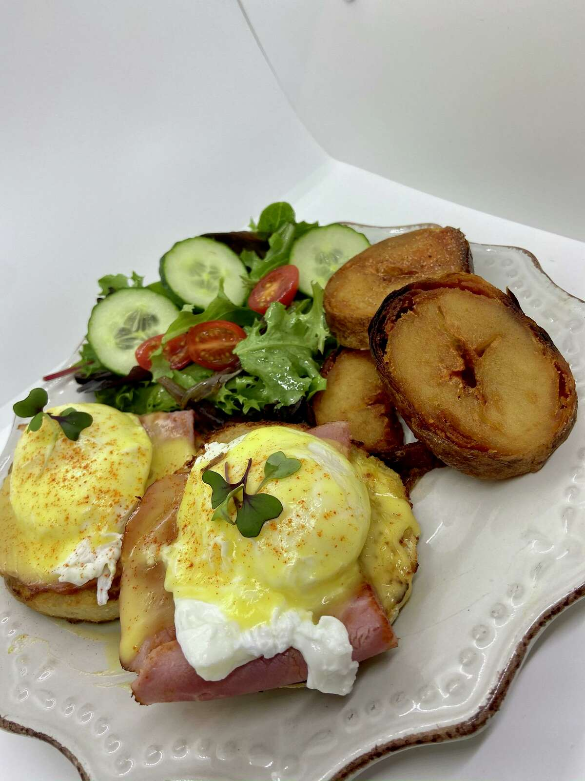 Harvest Kitchen & Bakery is located at 21971 Katy Freeway in Katy and serves a variety of gourmet dishes like this Eggs Benedict.