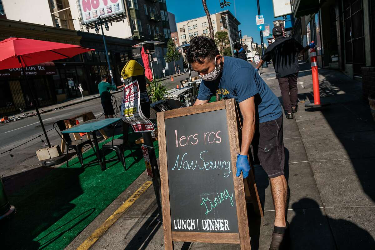 Vidal Cahuech sets up for outdoor dining at Lers Ros in San Francisco on Friday, December 4, 2020. As Coronavirus cases continue to surge San Francisco could once again see restaurant closures and shelter in place rules.