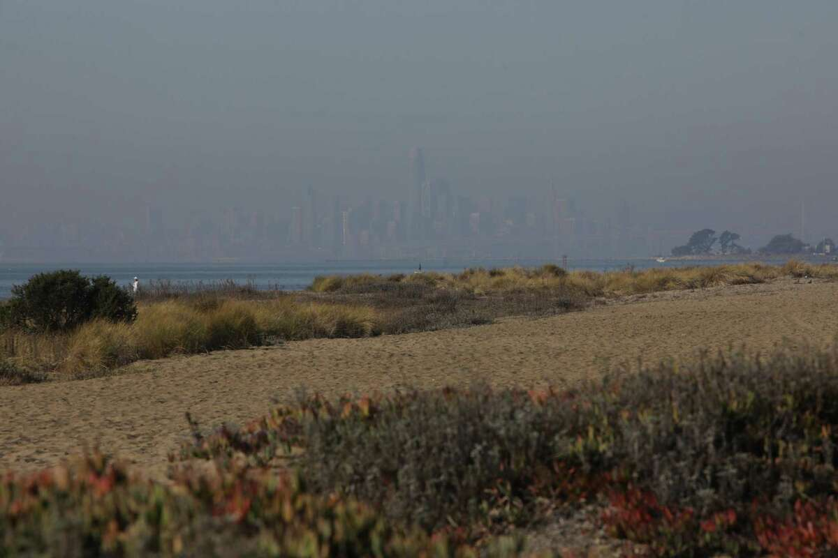 Smog covers the San Francisco skyline seen from Robert W. Crown Memorial State Beach on Friday, December 4, 2020, in Alameda, Calif. High winds is making the Bay Area vulnerable for fires and bad air quality. (Yalonda M. James / The Chronicle)