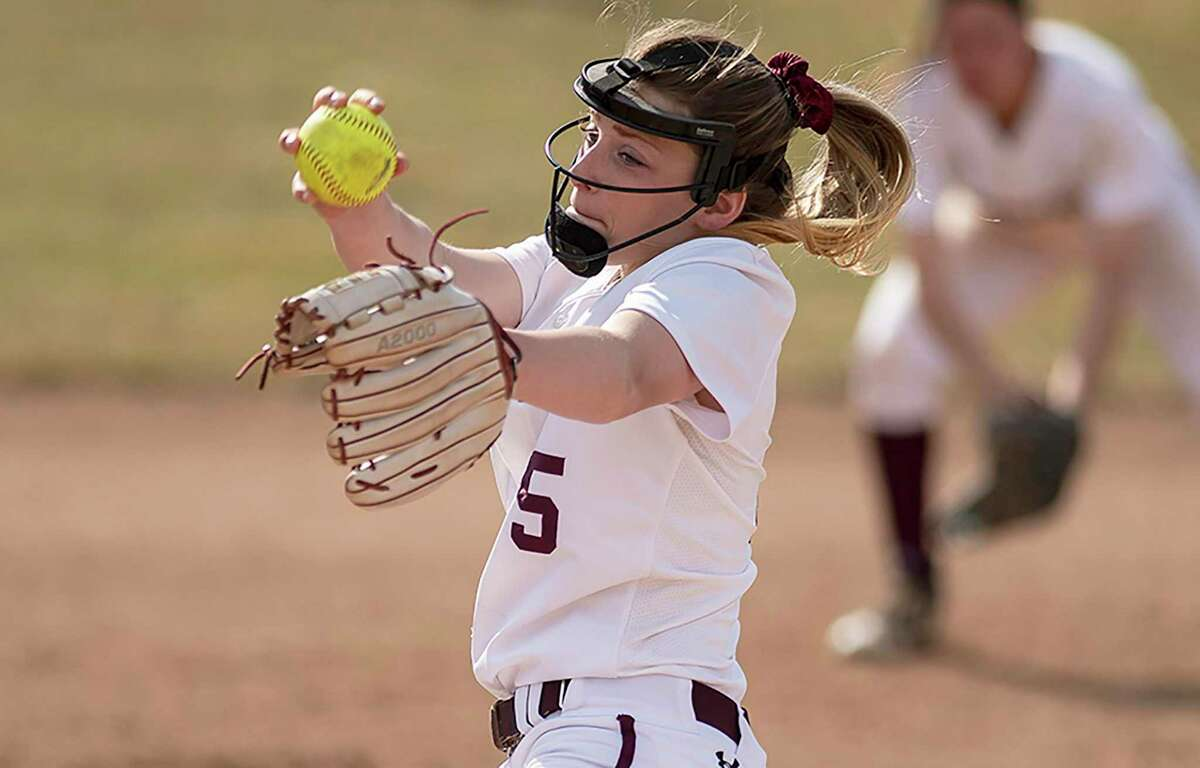 New Canaan's Gillian Kane, a junior at Springfield College, pitches for the Pride softball team. Kane was named a team co-captain for the 2021 season.