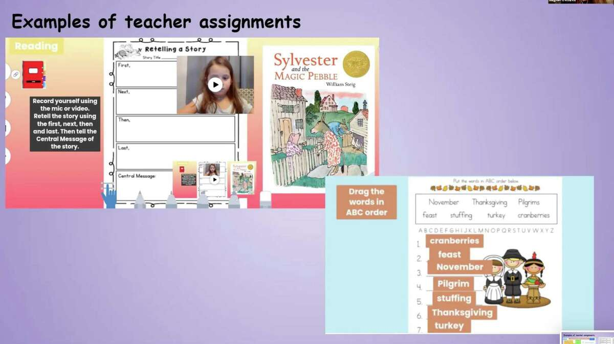 Example of teacher assignments in Seesaw.