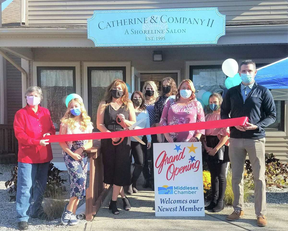 Catherine & Co. II A Shoreline Salon celebrated the grand opening of its second location in Westbrook Nov. 6. From left are Cominfortainment owner and Middlesex County Chamber of Commerce Board of Directors member Darlene Briggs, Catherine & Co. II owner's daughter Mia Stowik, owner Catherine Stowik, stylists Caitlin Olsen and Sarah Mrazik, receptionist Laura Furcolo, manager Laura Gilmore and Chamber Vice President Jeffrey Pugliese.